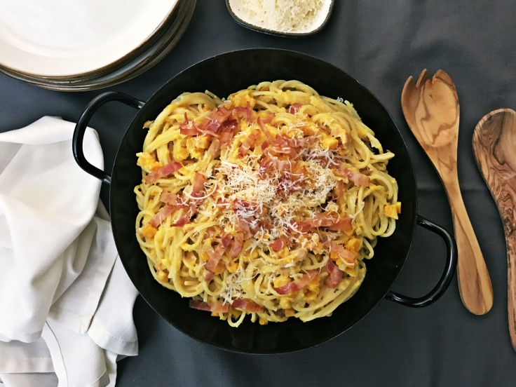 Spaghetti mit Kuerbis & Speck (4)